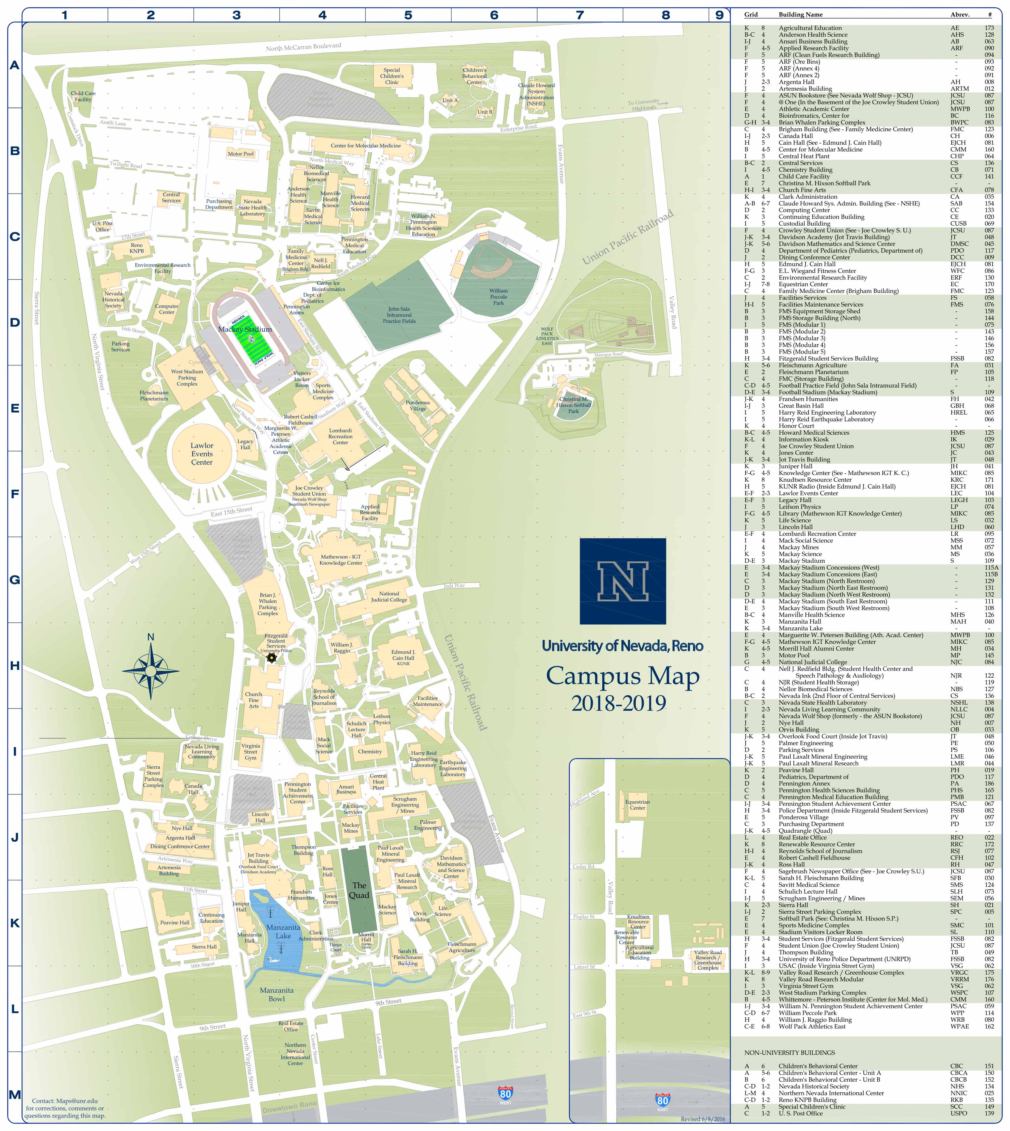 Campus Map | University of Nevada Reno Online Visitor's Guide