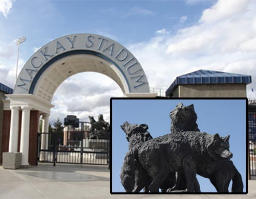 Mackay Stadium Entrance and Wolf Statue