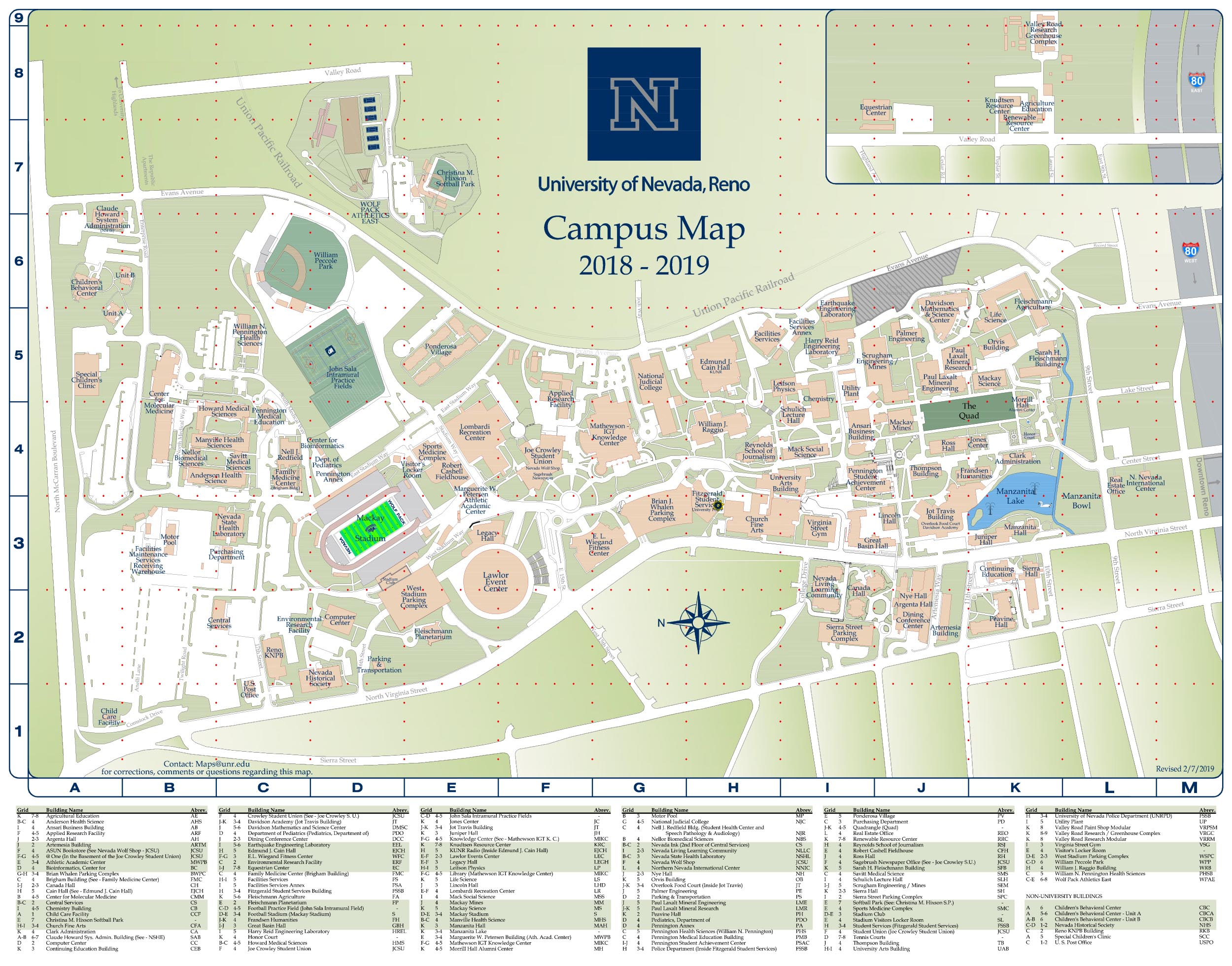 University of Nevada, Reno Campus Map